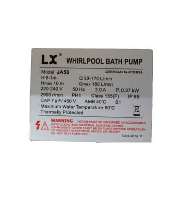 LX Whirlpool JA50 0.5hp circulation pump